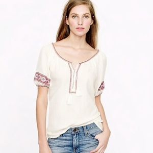 J Crew▪️Embroidered Patchwork Gauze Tunic. M